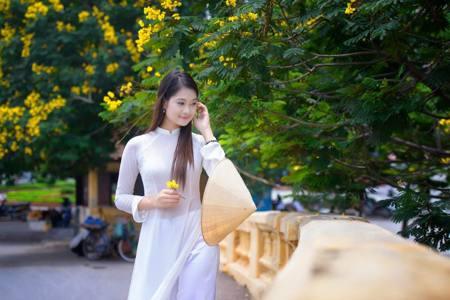 穿上奧黛女人味十足的越南美女
